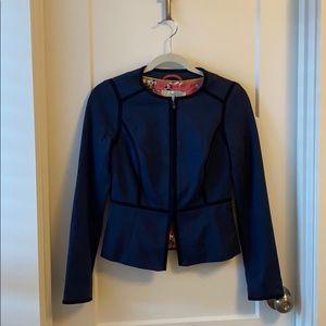Boden navy zippered blazer w/ black piping US 2